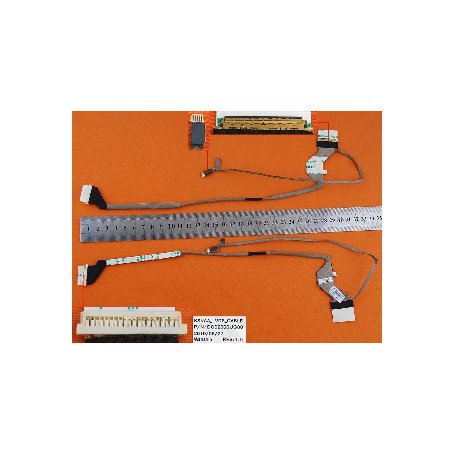 Video cable flex para TOSHIBA A500 A505(For LED,With camera connector)
