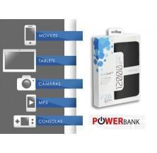 POWER BANK 12000 MAH | NEGRO | CUERO | CONECTOR MINI USB Y IPHONE | ELEGANTE