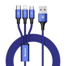 CABLE CARGA 3 EN 1 LIGHTNING / MICRO USB / USB-C 1.2M 3A EN AZUL BASEUS