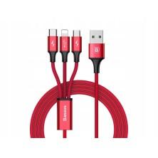 CABLE DE CARGA 3 EN 1 LIGHTNING / MICRO USB / USB-C 1.2M 3A ROJO