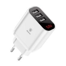 CARGADOR CON PANTALLA LED 3X USB BLANCO BASEUS